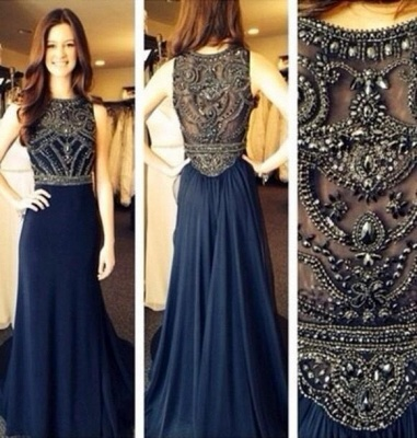 Charming Dark Navy Beading Evening Dresses Tulle Sleeveless Floor Length  Prom Gowns_2