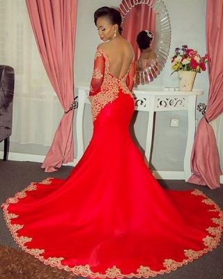 Sparkling Beaded Lace Sexy Prom Dresses   Off The Shoulder Long Sleeve Backless Evening Gown BA8551_3
