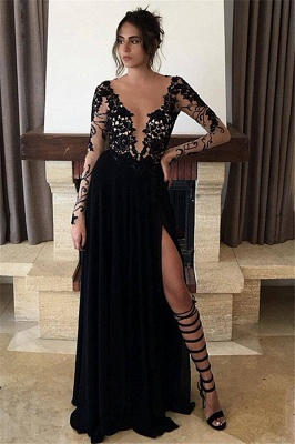 Long Sleeve Sheer Tulle Black Lace Evening Dresses  Split Chiffon Sexy Prom Dresses BA3485_3