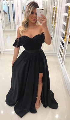 Newest Sheath Black Off-the-Shoulder Crystal Prom Dresses with Detachable Skirt BA7540_1