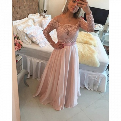 Latest Pink Long Sleeve Evening Gown A-Line Lace Chiffon  Prom Dress BA5532_3