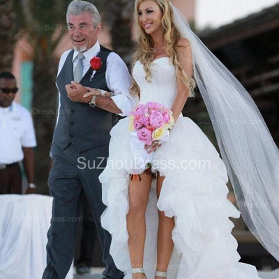 New Arrival Sweetheart White Hi-lo Wedding Dress Popular Organza Summer Beach Bridal Gowns_2