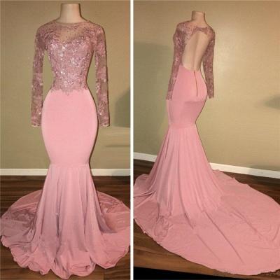 Pink Mermaid Long Sleeves Prom Dresses   Backless Prom Dresses  BA7912_3