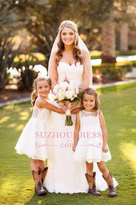 White Modern Knee length Lace Pageant Dresses A-line Illusion Sleeveless Flower Girl Dress_4