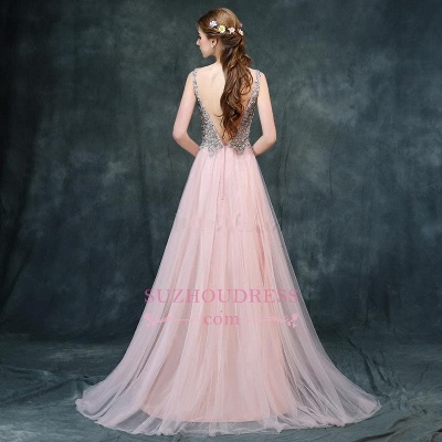 Pink Luxury A-line Long Backless V-Neck Beaded Prom Dresses_1
