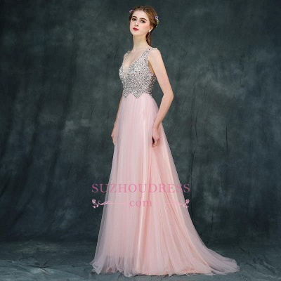 Pink Luxury A-line Long Backless V-Neck Beaded Prom Dresses_4