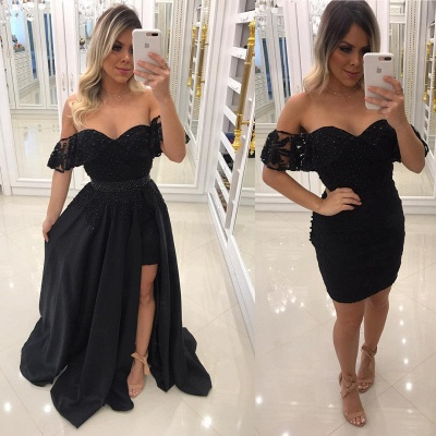 Newest Sheath Black Off-the-Shoulder Crystal Prom Dresses with Detachable Skirt BA7540_3