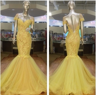 Yellow Lace Off Shoulder  Evening Dress Mermaid Puffy Tulle Skirt Prom Dress CE002_1