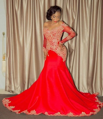 Sparkling Beaded Lace Sexy Prom Dresses   Off The Shoulder Long Sleeve Backless Evening Gown BA8551_4