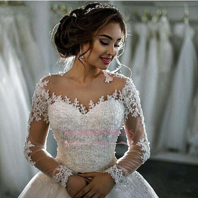 Long Sleeves Beaded Sheer Ball Gown Wedding Dress  Lace Bridal Dresses LY104_5