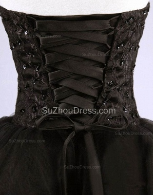 Cute Sweetheart Black Short Cocktail Dress Beading Tulle Lace-Up Mini Homecoming Dress CJ0389_3