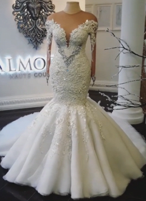Alluring Off-the-Shoulder Mermaid Wedding Dresses Crystals Long-Sleeves Bridal Gowns Online_2