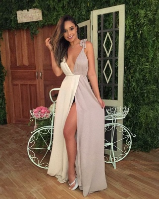 Sexy White Lavender Chiffon Formal Dresses  Deep V-neck Straps Evening Gown with Split_3