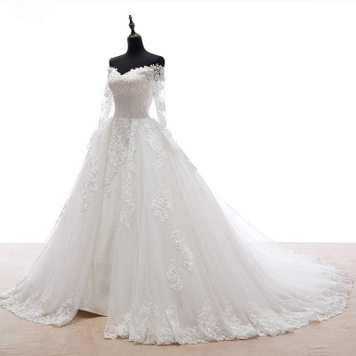 Long Sleeve Lace Wedding Dresses Off Shoulder Sheer Chapel Train Bridal Gowns_4
