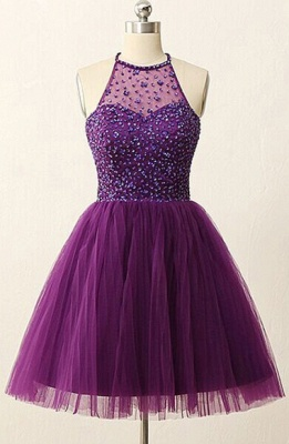 Purple Halter Crystal Mini Dresses A-Line Tulle  Homecoming Gowns_1