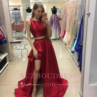 Hi-Lo Jewel Red Evening Dress  Newest A-line  Two Piece Prom Dress_2