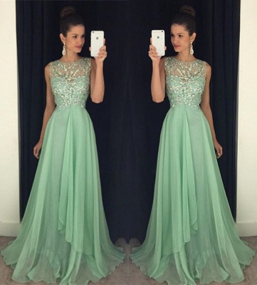 Crystal Halter Chiffon Long Prom Dress Latest Beading Backless Evening Gown GA001_3