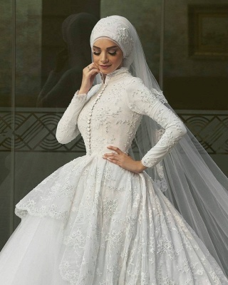Affordable Lace Long-Sleeves Muslim Wedding Dresses High Neck Bridal Gowns Online_3