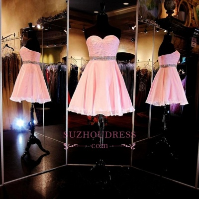 Ruffles Sweetheart Crystal Short Simple A-Line  Homecoming Dress_1