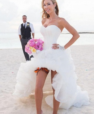 New Arrival Sweetheart White Hi-lo Wedding Dress Popular Organza Summer Beach Bridal Gowns_1