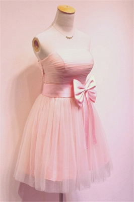 Cute Pink Bowknot Mini Cocktail Dress Strapless Short  Bridesmaid Dresses Under 100_2
