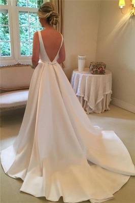 Elegant Satin Wedding Dresses  | Open Back Sleeveless Royal Wedding Dress_3