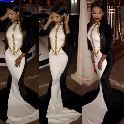 Black and White Mermaid Evening Dress with Gold Beaded Appliques Prom Dress_3