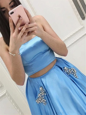 Two Pieces Prom Dresses  | Strapless Long Formal Dresses SK0143_3