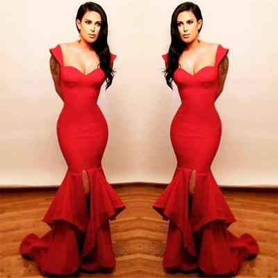 Sexy Mermaid Front Slit Red Prom Dresses Ruffles  Sleeveless Evening Dress Popular_3