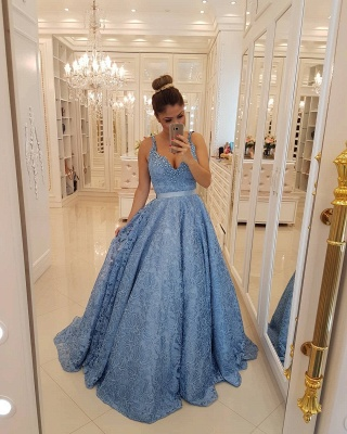 Popular V-neck Lace Sexy Evening Dresses  | Sleeveless Beading Straps  Prom Dresses BMT309_3