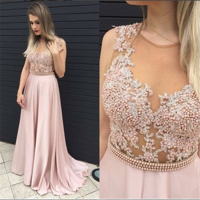 Blushing Pink Long Prom Dress Illusion Pearls Belt Evening Dresses_3