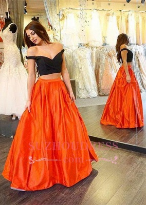 Off-the-shoulder A-line Two-Piece Long Sexy Prom Dress_3