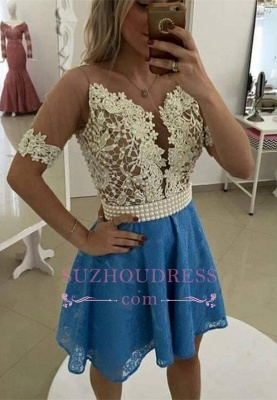 Gorgeous Short Sleeve Lace Pearls Homecoming Dress_1