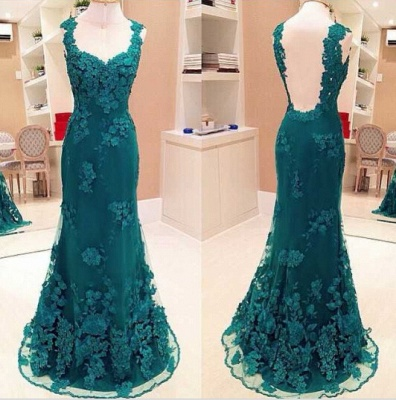 Elegant Sheath Lace Prom Dress Open Back Floor Length Evening Gowns_1