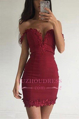 Sexy Appliques Sheath Short Off-the-shoulder Burgundy Homecoming Dress BA3581_1