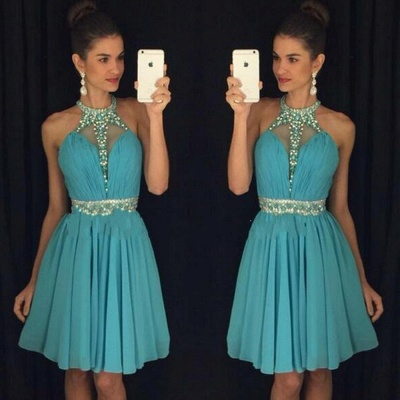 High Neck Crystals Belt  Homecoming Dresses Chiffon Short Party Dress_3