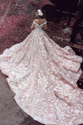 Pink Lace Applique Long Bridal Gown New Off the Shoulder Chapel Train Wedding Dresses BA3863_3