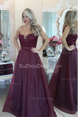 New Arrival Sweetheart Burgundy Long Prom Dress Sleeveless Bowknot Chiffon Beadings Evening Gowns BMT021_2