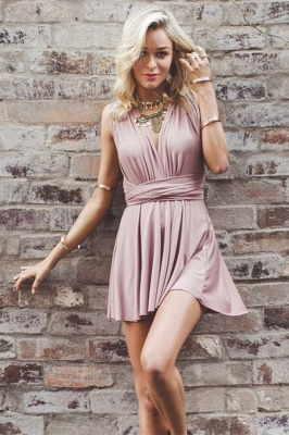 Simple V-Neck A-line Homecoming Dresses  Sleeveless Open-Back Hoco Dresses_4