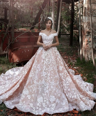 Pink Lace Applique Long Bridal Gown New Off the Shoulder Chapel Train Wedding Dresses BA3863_1