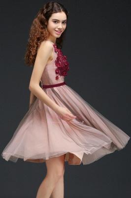Burgundy-Flowers Sash A-line Open-Back Romantic V-Neck Homecoming Dresses_3