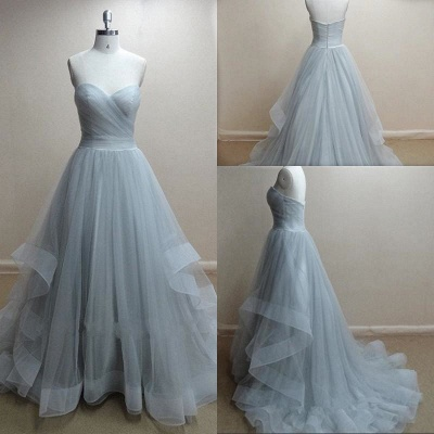 Sweetheart Organza Ball Gown Evening Dresses Sweep Train Ruffles  New Popular Prom Gowns_2