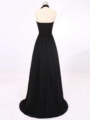 A-Line Black Halter Summer Party Dresses Simple Chiffon Long Prom Dress_3