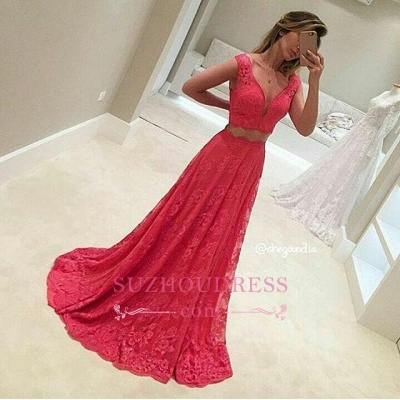 Lace Sleeveless Red Two-Piece V-Neck Long Mermaid Prom Dresses BA8080_1