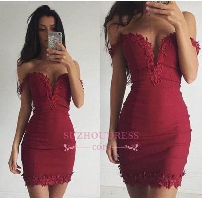 Sexy Appliques Sheath Short Off-the-shoulder Burgundy Homecoming Dress BA3581_3