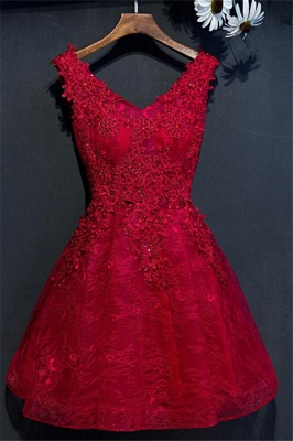 Red V-Neck Lace Short Homecoming Dresses | Sleeveless Lace Up Appliques Hoco Dress_1
