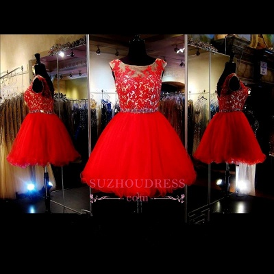 Mini Red Tulle A-Line Sleeveless Appliques Short Homecoming Dress_1
