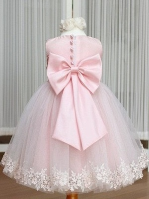 Pink Flower Girl Dresses Jewel Bow Sash Lace Appliques Lovely Tulle A Line Pageant Dress_2