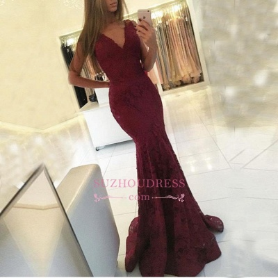 Sleeveless Mermaid Newest Lace Burgundy Formal Dresses  Sweep Train V-neck Prom Dress BA6827_1