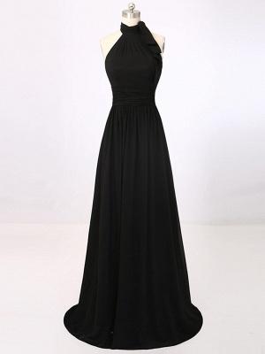 A-Line Black Halter Summer Party Dresses Simple Chiffon Long Prom Dress_1
